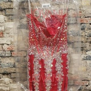 Jovani Dresses - Jovani sequined red mermaid gown 5908